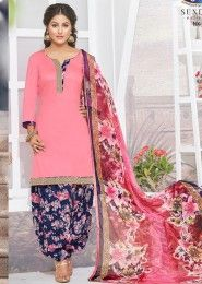 Casual Wear Pink Glace Cotton Lace Border Work Patiala Suit