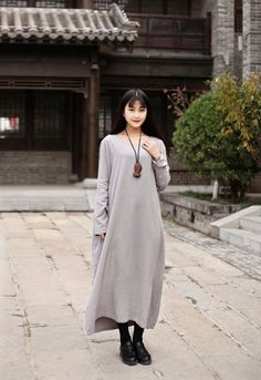 Linen dress Maxi dress Casual loose dress Robe Cotton Party Dress Daywear Dress Custom-made Plus size dresses Large size long Kaftan