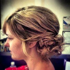Messy, Curly, Side bun, Updo www.hairdesigners.ca Bun Updo, Something Beautiful, Hair Designs, Updos, That Look, Curly, Designers, Long Hair Styles, Bridal