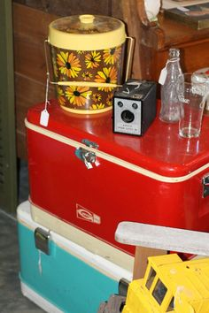 stack vintage coolers for a great coffee table!