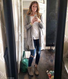 gray cardigan, white tee, distressed denim, wedge booties / fall fashion from jones design company
