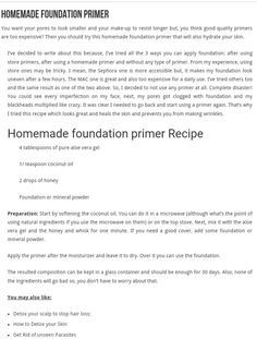 "Home Made Foundation Primer Recipe ""PiC"""