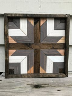 This set of 4 comes at a discounted price! Each piece is stained, cut, Reclaimed Wood Wall Art, Wood Wall Decor, Wooden Wall Art, Barn Quilt Designs, Barn Quilt Patterns, Woodworking Plans, Woodworking Projects, Wood Mosaic, Pallet Art