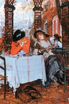 James Jacques Joseph Tissot Premium Thick-Wrap Canvas Wall Art Print entitled Cafe Rendezvous, None Canvas Art Prints, Painting Prints, Fine Art Prints, Oil Paintings, Beaux Arts Paris, Joseph, Victorian Art, Oil Painting Reproductions, Figure Painting