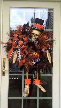 Dapper Jasper Halloween Skeleton Wreath  by TisASeasonDotCom, $225.00