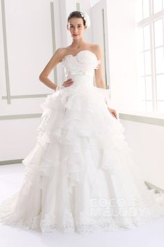 Charming Princess Strapless Natural Train Organza Ivory Sleeveless Lace Up-Corset Wedding Dress with Flower JWLT15015 #cocomelody #wedding #dresses