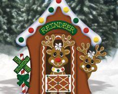 Christmas Gingerbread Reindeer Stable Wood Outdoor Yard Art, Lawn Decoration