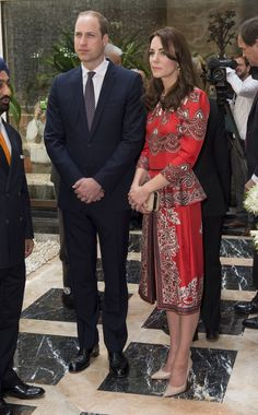 April 10, 2016 To kick off the launch of the India and Bhutan tour, Kate wore one of her favorite British designers, Alexander McQueen, and accessorized with a L.K. Bennett pump. One of the first stops was the Taj Mahal Palace Hotel, one of four sites attacked by terrorists in 2008.