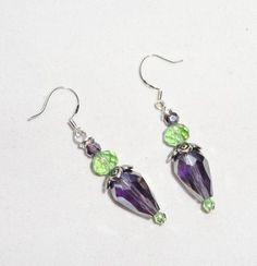 Eggplant Shaped Crystal Dangle Earrings w/925 Silver Hooks Handmade Mother's Day