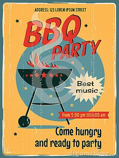 Retro vector banner with a BBQ. Vintage poster template for BBQ party. Retro label or banner design. #fundraising #fundraisingposter Create your online fundraising campaign at http://gogetfunding.com