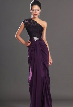 Wholesale Vestidos De Fiesta 2017 Brand New Evening Party Gown One Shoulder Beading Plum Chiffon Prom Dresses Plum Evening Dress, Evening Party Gowns, Purple Bridesmaid Dresses, Backless Prom Dresses, Purple Dress, Purple Lace, Dark Purple, Dress Black, White Dress