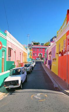 Good morning from Bo-Kaap… I lost myself today in Cape Town's most colorful neighborhood… Isn't that amazing? I'm pretty sure if all cities in the world would have such colorful houses, people would be much happier. Pretoria, Oh The Places You'll Go, Places To Travel, Travel Destinations, Voyager C'est Vivre, Travel Around The World, Around The Worlds, South Afrika, Le Cap