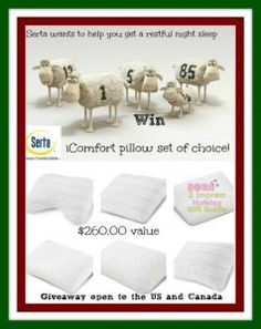 #Win a #SertaiComfort #PillowSet of choice ARV $260.00 Open ti the US and Canada #ad #Holidays #holidayGift Guide #2016Holidays #Home #Homedecor #bedroom