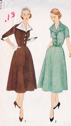 The wide scalloped collar is interesting. Dress with detachable collar and cuffs - 1950s sewing pattern.