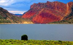 ~ Flaming Gorge ~ Utah. This is the rock wall you see as you come around the corner...it was amazing!!!