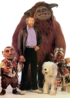 Jim Henson with the main creatures from Labyrinth.