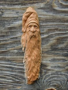 Original Wood Carving Spirit Gnome Wizard Ooak Forest Face Spirit Scott Longpre