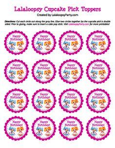 FREE Lalaloopsy cupcake topper pick printable from LalaloopsyParty.com