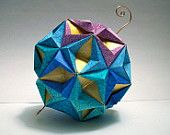 Origami Blue and Gold Modular Star Ball