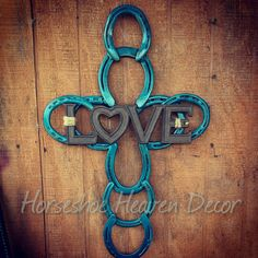 Horseshoe Cross Love cross Turquoise blue by KadysKustomKrafts