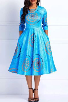 Ankara Print Round Neck Three-Quarter Sleeve Color Block A-Line Dress from Diyanu - Ankara Dresses, Shirts & Best African Dresses, African Fashion Designers, African Traditional Dresses, Latest African Fashion Dresses, African Print Fashion, Dress Fashion, African Dresses Online, Latest Fashion, Chitenge Dresses