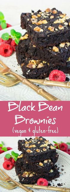 These vegan black bean brownies are not only super fudgy and chocolatey but also gluten-free and really easy to make! #vegan #brownies #glutenfree #blackbeanbrownies @veganheavenorg