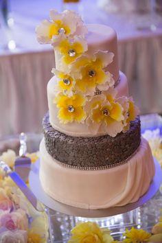yellow and grey wedding cake - Google Search