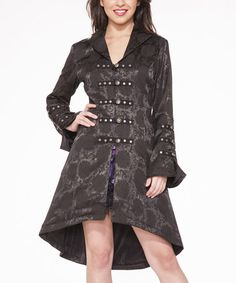 Another great find on #zulily! Black Brocade Corset Swing Coat - Women by HEARTS & ROSES LONDON #zulilyfinds