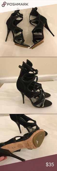 Bebe caged heels In excellent condition! How hot are these? Honestly!! bebe Shoes