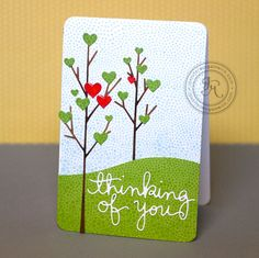 Another WOW! card by Jennifer McGuire using Small Forest Tree Die, Tall Forest Tree Die, Thinking of You Die and Holiday Shapes die...