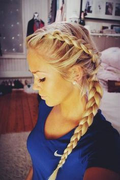 dutch braid, so pretty can't wait to try this myself and it would be a great idea for soccer hair!