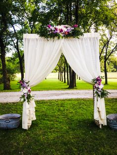 Floral Chuppah, Arch, flower tied back curtains, country  rustic wedding, orchard wedding,