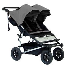 mountain buggy duet 2.5 all terrain compact double stroller 3/4 view flint