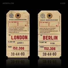 Typography: Retro airline baggage tags and oil cans | dailybri