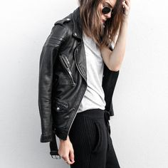It's a moment but more like leather poetry. A moto jacket where nothing is overdone. Rare and lovely. I would wear it forever.  White shirt, black jeans, throwback sunnies. Who needs anything else? Style Planet | BLK Denim