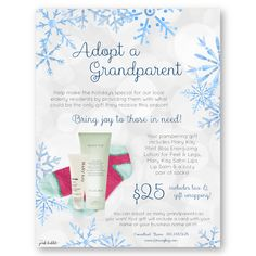 Mary Kay Adopt a Grandparent Flier, Order Sheet & Christmas Card Set! Give the gift of joy this holiday season! Find it only at www.thepinkbubble.co!