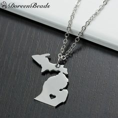Michigan Stainless Steel Map State Charm Necklace With Long Chain Only at: $6.99 & FREE Shipping Worldwide
