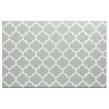 Silver Grey Moroccan Quatrefoil Trellis Fabric | Zazzle