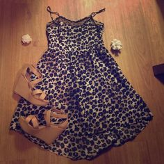 Leopard Summer Dress Higher in the front, lower in the back! Like new; worn once ✔️; Xhilaration Brand- size medium ; Sheer lace at top; Fits comfortably! Xhilaration Dresses High Low