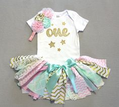 First Birthday Outfit // Tutu Onesie & Headband // Mint Pink Gold by FlyAwayJo