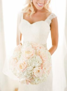 Bouquet with Pale Roses and White Hydrangea | photography by http://justindemutiisphotography.com/