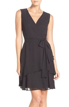 Tahari Ruffle Chiffon Fit & Flare Dress (Regular & Petite)