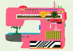 Vivid sewing machine illustration (via the wondrous @Pinterest Creative Wedge)