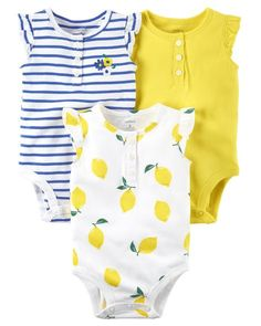 79f6103d0 Baby Girl 3-Pack Flutter-Sleeve Bodysuits from Carters.com. Shop clothing