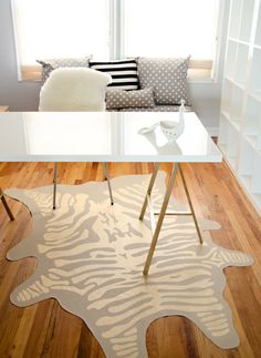Why buy one when you can make it yourself? Make this DIY zebra rug