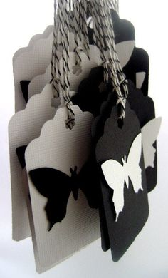 Black and White Butterfly Tags by mybutterflyheaven on Etsy, $3.00