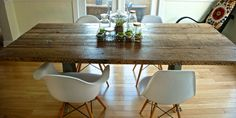 diy wooden kitchen table | Some knockoff Eames molded plastic chairs found on Amazon added a ...