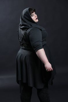 """Hooded Dress Goth Clothing Knit Cowl Fall Fashion Casual Dress """"Hooded Handkerchief Dress"""" Petite to Plus size Custom to Order - - Real Time - Diet, Exercise, Fitness, Finance You for Healthy articles ideas Thick Girl Fashion, Curvy Fashion, Plus Size Fashion, Women's Fashion, Fashion Styles, Plus Size Goth, Plus Zise, Vestidos Plus Size, Goth Dress"""