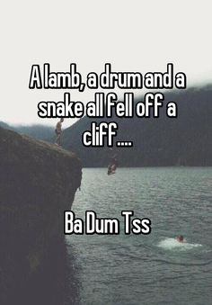 """A lamb, a drum and a snake all fell off a cliff.... Ba Dum Tss"""