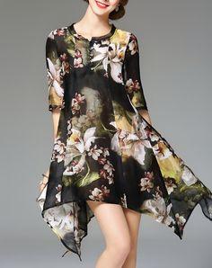 Linen Blend Floral Asymmetrical Hem Mini Dress With Slip